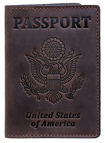 Leather Traveler Case (US Passport Holder Cover Travel Wallet Case - Genuine Leather ID Organizer - Card Slots - for Men Women (Brown))