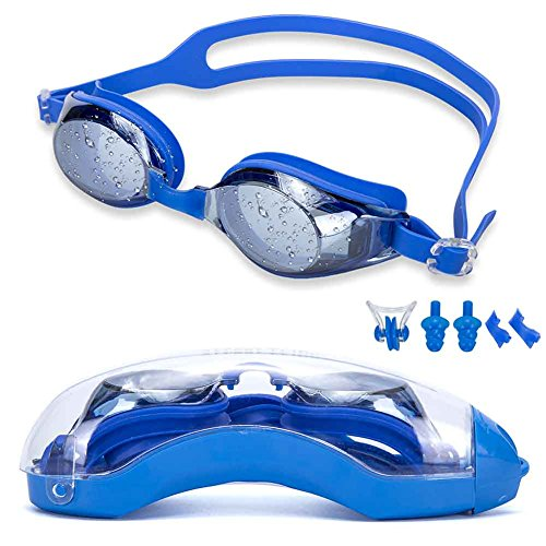 Street Tribe Best Swimming Glasses Free Nose Clip And Earplugs, Swimming Goggles Are Made Of Silicone Material, Mirror Anti-fog, Scratch Coating, - Glass Are Made Lenses Of