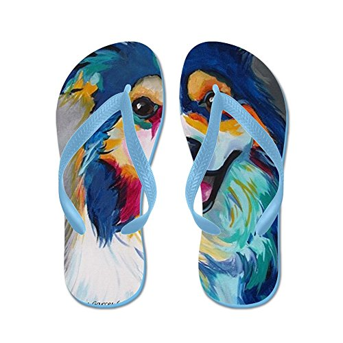 CafePress Maggie The Border Collie, Aussie, Australian Sheph - Flip Flops, Funny Thong Sandals, Beach Sandals Caribbean Blue