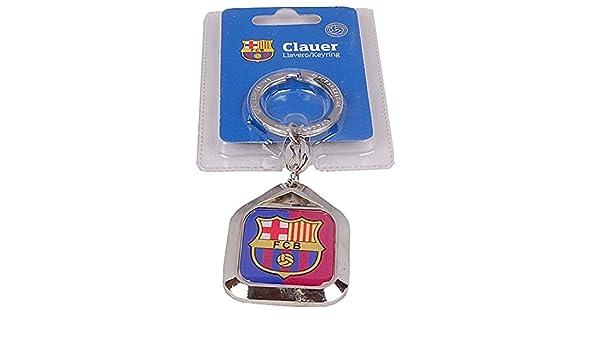 Llavero F.C. Barcelona escudo metálico placa cuadrada ...