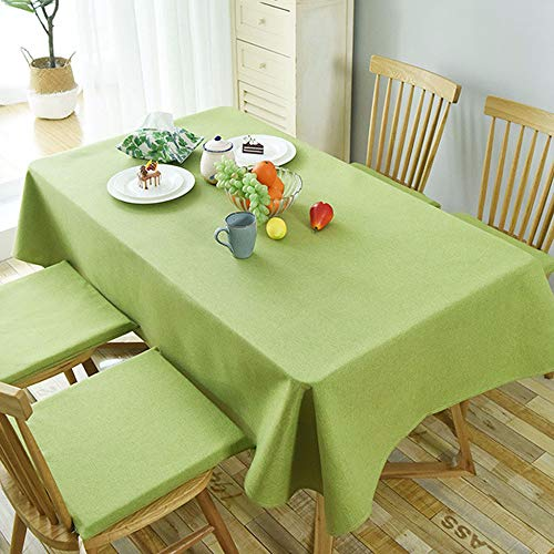 PCYG Mantel Pastoral Color Solido Mesa De Centro Mesa De Comedor Ropa De Cama Rectangular Decorativa para El Hogar Cubierta De La Mesa Ideal para Cocina Mesa De Comedor 140X220Cm, Verde