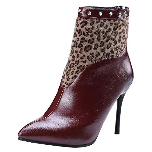 Women High-Heeled Pointed Shoes,Mosunx Lady Stiletto Leopard Rivet Ankle Boots Casual Boot (6B(M) US, Wine) by Mosunx Women Shoes