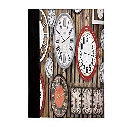 Clock Decor Stylish Notebook,Antique Clocks on the Wall Instruments of Time Vintage Decorative Pattern for Office School,A4(10L x 8W)