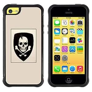 Suave TPU GEL Carcasa Funda Silicona Blando Estuche Caso de protección (para) Apple Iphone 5C / CECELL Phone case / / Skull Coat Of Arms Emblem Crossbones /