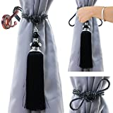 1 Pair 30.5'' Beaded Tassels Curtain Tiebacks Rope Holdbacks For Thick curtains or screens,for Home Bedroom, office or school decoration - (black)