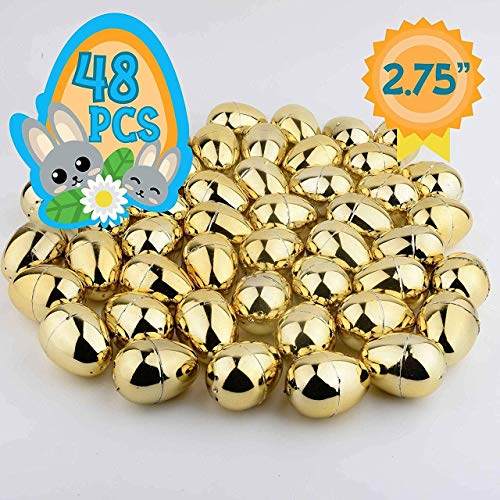 Totem World 48 2.75-inch Gold Metallic Easter Eggs - Perfect Size for Filling and Hiding Treats for Small Children - Bulk Assortment - Durable Designs That Snap Shut and Hold Tight