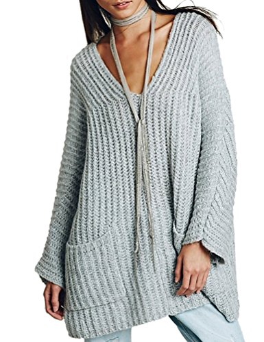 Choco Mocha Women's V-Neck Pockets Loose Stripes Knitted Long Sweaters Grey