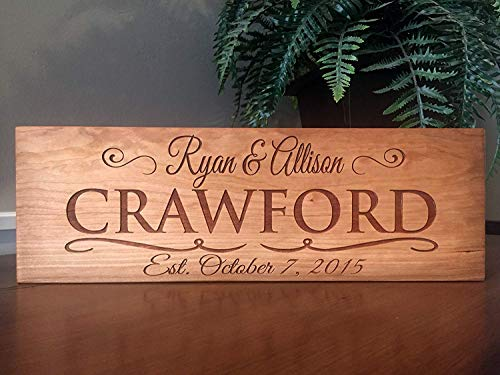 Qualtry Wedding Gifts for The Couple - Personalized Engraved Wedding Gifts Wooden Family Name Signs (5x15 Crawford Design)