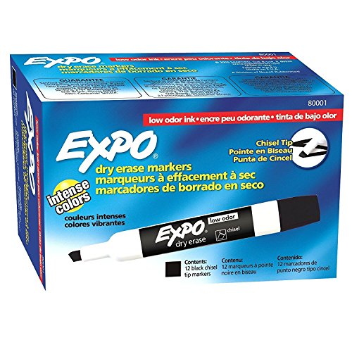 Expo 80001 Low Odor Chisel Point Dry Erase Markers, Black, 12 Units per Box, Pack of 6 Boxes, 72 Markers Total, Includes 5 Color Flag Set by Expo (Image #1)