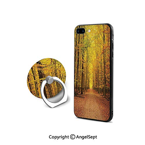 Protective Case for iPhone 8/iPhone 7 with Ring Holder Kickstand,Seasonal Park Foliage Pathway Scenic Environment Leaves and Branches,Durable Soft Touching,Pale Green Orange Brown