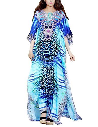 (Maxi Cover Ups Kimono Leopard Printed Swimsuit Turkish Kaftan Beach Dresses Robe Beach Cover Up Around The House (246))