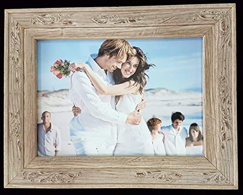 French Distressed Barn Wood Rustic Double Hinged Folding Embossed Art Photo Frame Slate Grey Desert Sand Autumn Brown Carbon Black Deco Gift