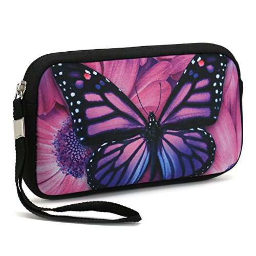 Unisex Portable Washable Travel All Smartphone Wristlets Bag Clutch Wallets, Change Purse,Pencil Bag,Cosmetic Bag Pouch Coin Purse Zipper Change Holder With Strap (Purple Butterfly)