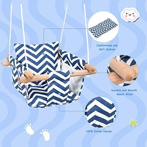 Costzon Kids Classic Swing, Baby Canvas Hanging Swing Seat, Toddler Secure Indoor Outdoor Wooden Hammock Chair Toy with Soft Backrest Cushion and PE Rope, Tree Swing Play Set Blue