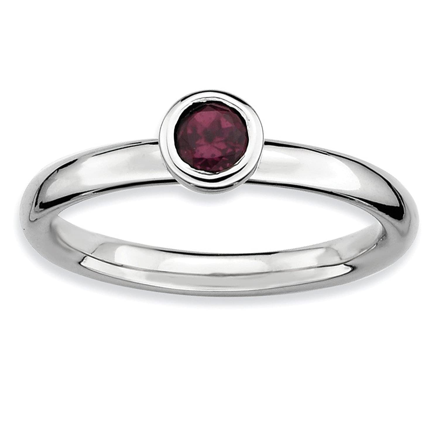 Roy Rose Jewelry Sterling Silver Stackable Expressions Low 4mm Round Rhodolite Garnet Ring