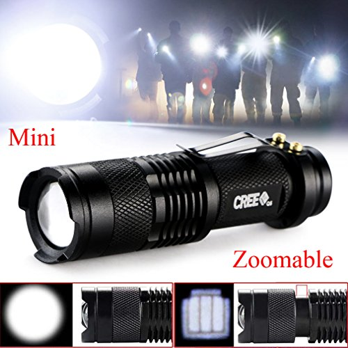 Zlimio LED Flashlight , Mini 1200Lm Bright CREE Q5 LED Adjustable Zoom Focus Flashlight Torch , Best Tools for Camping, Hiking, Hunting, Backpacking, Fishing