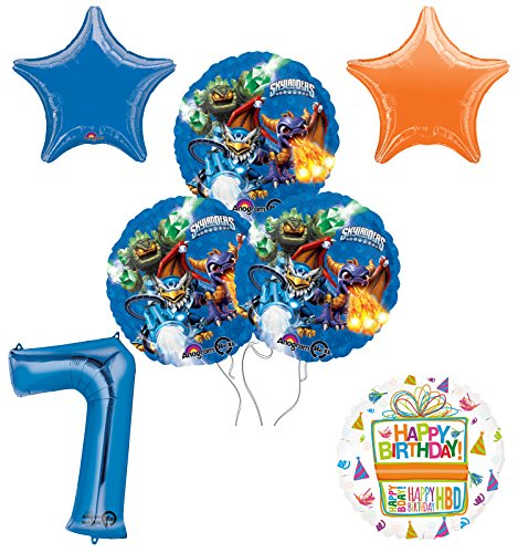 Skylanders 7th Birthday Party Supplies and Balloon Decoration Bouquet Kit -