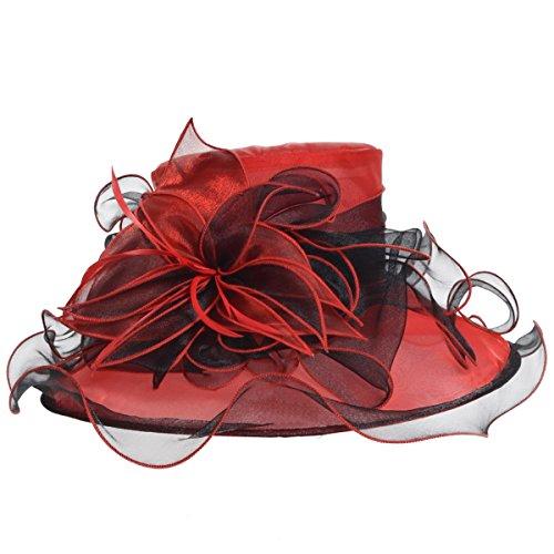 Kentucky Derby Hat Wide Brim Flounce Cocktail Tea Party Bridal Dress Church Hat (Red)
