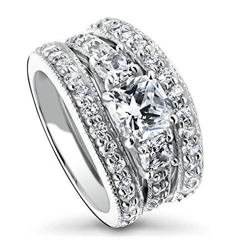 BERRICLE Rhodium Plated Sterling Silver Cushion Cut Cubic Zirconia CZ 3-Stone Anniversary Engagement Wedding Ring Set 3.24 CTW Size 5 ()