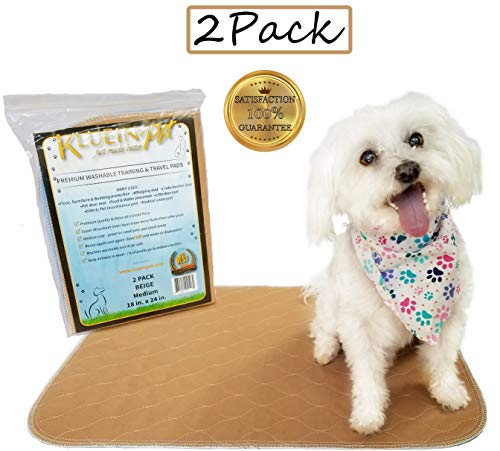 Kluein Pet Washable Dog Pee Pads, Absorbent Waterproof Reusable Puppy Pads, Beige 2-Pack 18 x 24 inch, Pet Food Mat, Dog Crate Mat, Cat Mat, Potty Training, Travel