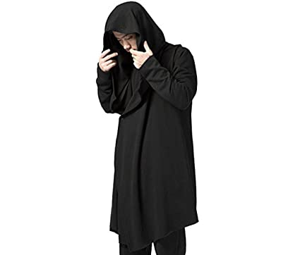 Amazon.com: Men's Black Long Hooded Cardigan Large Cape Cloak Coat ...