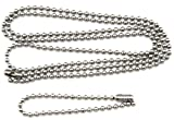 """27"""" & 4.5"""" Inch Length Stainless Steel 2.4 mm Ball Chain Military Dog Tag Necklace Set with Connectors"""