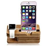 lamavido Compatible for Apple Watch Stand iWatch Bamboo Wood Charging Dock Charge Station Stock Cradle Holder Compatible for Apple Watch iWatch series 1& 2 3 4 Both 38mm and 42mm & Compatible for iPhone 6 /6 plus /5S/ 5 / 7/ 7 Plus