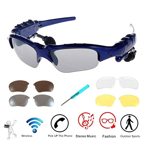 WONFAST Bluetooth Sunglasses Sun Glasses Music Handsfree Headset Headphones for Smart Phone PC Tablet IPHONE6 /6 PLUS Samsung HTC Bluetooth devices + Free Replaceable 3 pair lens (Yellow,Brown,Clear)