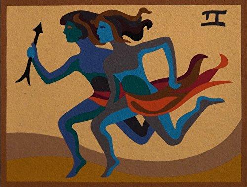 """GEMINI,""Spanish""Encanto""Tapestry, 7.5'' X 9.5""Original Mid-Century Modern, c.1965,100% Virgin Wool Felt,Mint Condition.ASTROLOGY SERIES. by Encanto Tapestries"