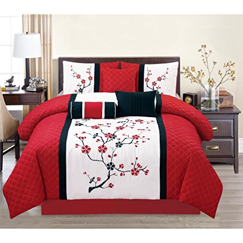 7 Piece Embroidered Floral Patterned Comforter Set `King Size, Featuring Precious Dainty Asian Cherry Blossoms Themed Bedding, Nature lover Design, Stylish Fine Traditional View Bedroom, Red, (Dainty Blossoms)
