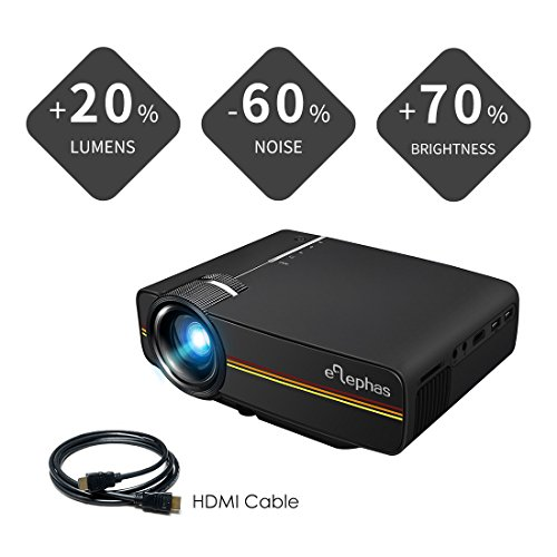 - ELEPHAS LED Mini Video Projector, Support 1080P Portable Pico Projector Ideal for Home Theater