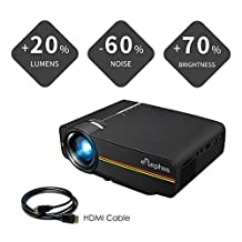 ELEPHAS 2018 Updated LED Mini Video Projector (Warranty included), With 1800 Luminous Efficiency Support 1080 P Portable Projector Ideal for Home Theater Cinema Movie Entertainment Games Parties, Black