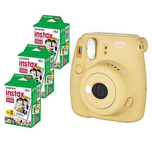 Fujifilm Instax Mini 8+ (Honey) Instant Film Camera with No pattern film 3 x 20 Shoots (Total 60 Shoots) , 60PCS photo fram stickers