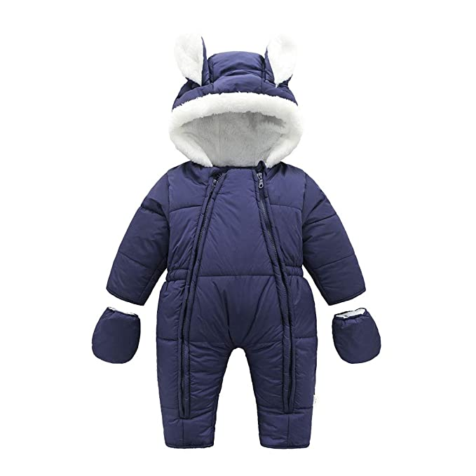 Baby Winter Reißverschluss Overall mit Kapuze Mädchen Jungen Schneeanzüge