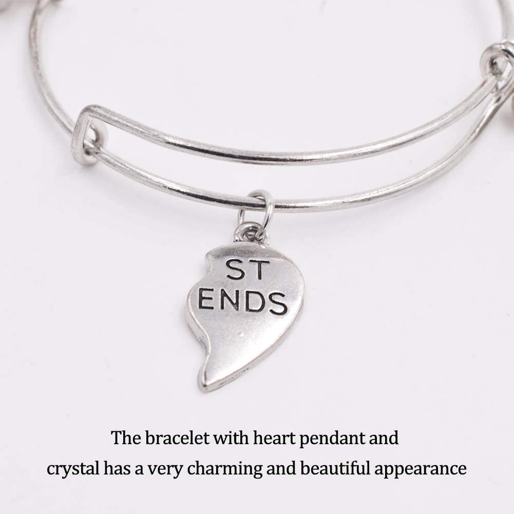 Bracciali Amicizia per 2 con Ciondoli a LOVE Forma di Cuore Ciondolo di Diamanti Idea Regalo per Sorelle Migliori Amiche