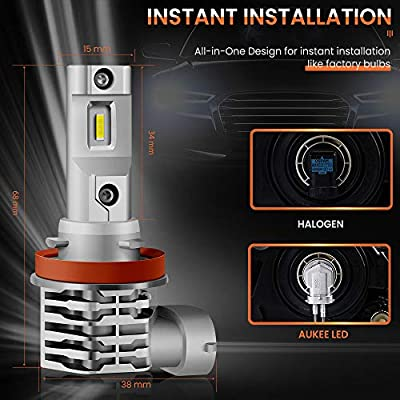 Aukee H11 LED Fog Light, H8 H16 Bulbs 5000Lm 6000K White 12V Super Bright: Automotive