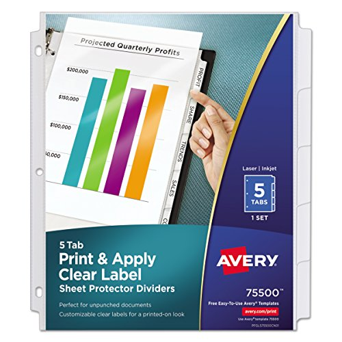 Avery  Index Maker Clear Pocket Clear Label Dividers, 5-Tab Set, 1 Set (Tabbed Index)
