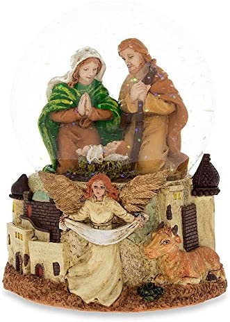 BestPysanky Nativity Scene with Guardian Angel Musical Snow Globe