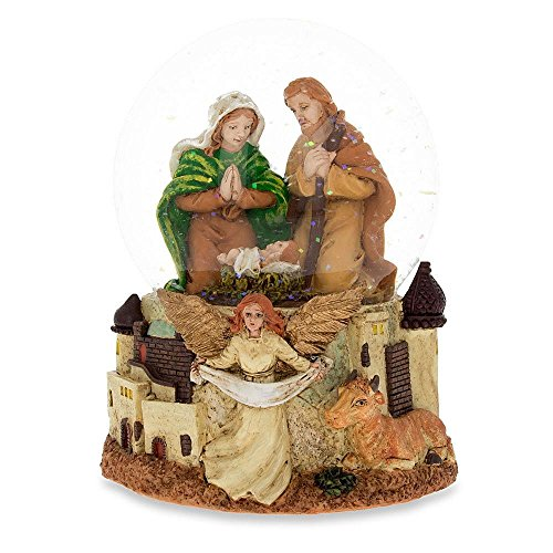 Scene Snowglobe Nativity (BestPysanky Nativity Scene with Guardian Angel Musical Snow Globe)
