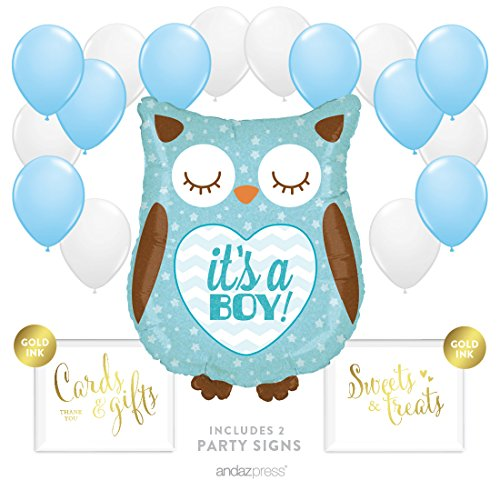 Andaz Press Balloon Party Kit with Signs, Boy Baby Shower, Owl with Baby Blue and White Balloons, Hanging Decor, Hanging Decorations, 19-Piece Kit -