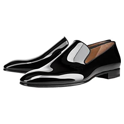 FSJ Men s Formal Oxford Dress Shoes Slip On Loafers Flats Shiny Patent  Leather Size 7 Black