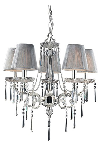 (Princess 5 Light Chandelier in Polished Silver with Silk String Shades)