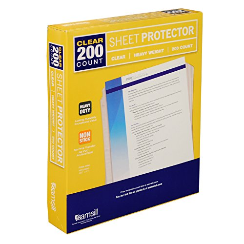 Samsill 200 Clear Heavyweight Sheet Protectors, Reinforced 3 Hole Design Plastic Page Protectors, Archival Safe, Top Load for 8.5 x 11 Inch Sheets, Box of - Samsill 3 Ring Vinyl
