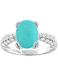 14k white gold natural turquoise engagement ring oval 10x8 mm diamond accents sizes 5 10 - Turquoise Wedding Rings