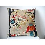 "Decorbox Retro Cotton Linen Square Throw Pillow Case Decorative Cushion Cover Pillowcase Cute Birds on Tree 18 ""X18 """