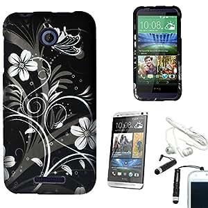 [STOP&ACCESSORIZE] BLACK WHITE FLOWER VINE 2 PIECE COVER PLASTIC CASE for HTC DESIRE 510 + FREE ACCESSORIES