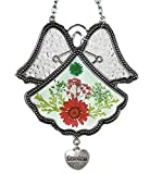 Banberry Designs Grandmother Angel Sun Catcher - Pressed Flowers in Glass Angel Shaped Suncatcher with Silver Heart Grandma Charm - 4 1/2''
