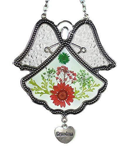 (BANBERRY DESIGNS Grandmother Angel Sun Catcher - Pressed Flowers in Glass Angel Shaped Suncatcher with Silver Heart Grandma Charm - 4 1/2