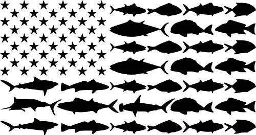 (Wall Decal Center Console Fisherman American Flag Fish Stripes Decal Window/Boat Sticker)