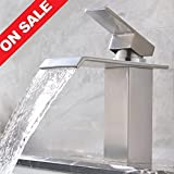 Waterfall Faucet Brushed Nickel KINGO HOME Brushed Nickel Single handle Lavatory Waterfall Bathroom Sink Faucets,Solid Brass Basin Mixer Tap